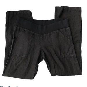 ALLEN ALLEN black linen wide waistband pants